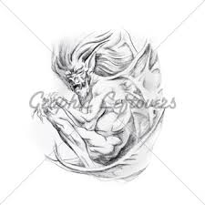 tattoo art sketch of a monster gl stock images