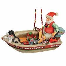 santa retro motor boat ornament outdoor gifts outdoor themed