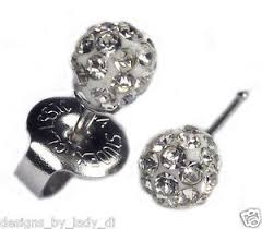 studex earrings ear piercing earrings 4 5mm fireball clear silver studs