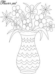 flower pot coloring page printable eson me