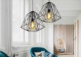 Foyer Pendant Lighting Black Iron Pendant Lights Diamond Shaped Industrial Creative
