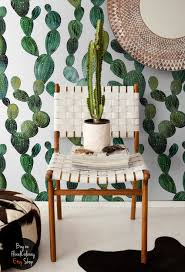 green cactus wallpaper boho style wall mural cactus decal zoom