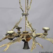 Metal Antler Chandelier A Classy Antler Chandelier With 4 Cadle Spouts Ca 1920