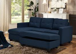 fiona navy woven fabric reversible sofa sectional w storage ottoman