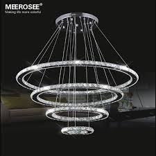 Pendant Led Lighting Fixtures Mirror Stainless Steel Lighting Fixtures 4 Rings