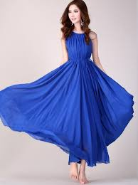royal blue long evening wedding party dress lightweight sundress
