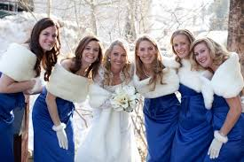 fur shawls for bridesmaids winter bridesmaids in cobalt blue white faux fur stoles