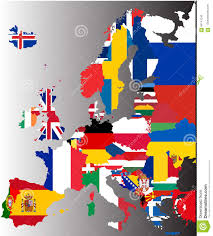 European Continent Map by Coloured Map Of Europe With National Flags Stock Illustration