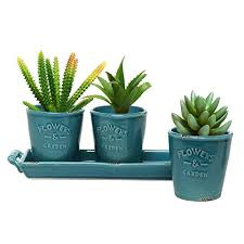 mygift set of 3 country rustic turquoise ceramic succulent