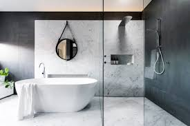 modern marble bathroom corner white whirpool shower with glass