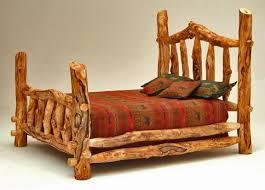 Cheap Log Bed Frames Burl Aspen Four Post Log Bed With Elk Markings Woodland Creek