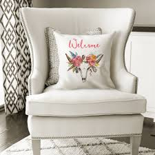 floral boho pillow cover antlers skull home decor tribal cattle bu