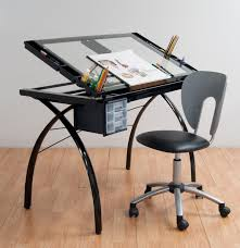Glass Top Drafting Drawing Table Studio Designs 10072 Futura Craft Station Black