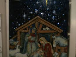 susan winget away in a manger lighted wall tapestry nativity