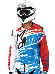 jersey motocross alpinestars blue red white 2016 racer braap mx jersey