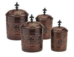 antique fleur de lis vintage canister set for kitchen flour sugar