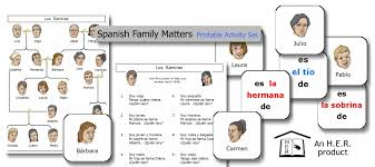 spanish family matters printable activity set u2013 home education