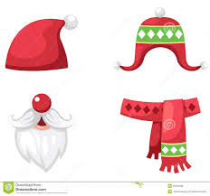 christmas set red santa claus hat scarf and hat isolated vector