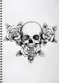 white roses and skull design