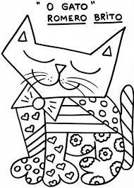 britto para colorear obras de romero britto para colorir romero britto britto y gato