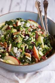 shredded brussels sprouts kale salad with apple gorgonzola