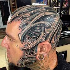 biomechanical tattoo face biomech skull piece by roman abrego artistic element tattoo cool