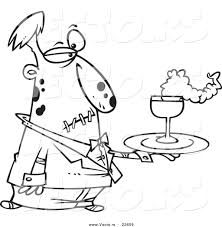 vector of a cartoon zombie waiter coloring page outline by
