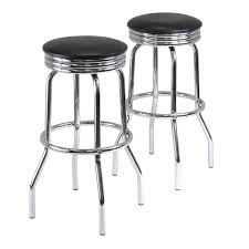 Comfortable Bar Stools Furniture Silver Iron With Round Cuhsion Barstools For