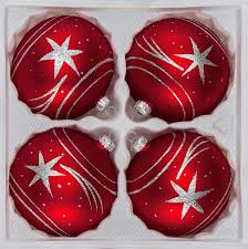 christmas sets 4 pcs glass christmas balls set 3 15 inches ø in classic