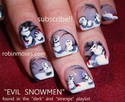 nail art design evil snowman gothic nails emo nails gray and