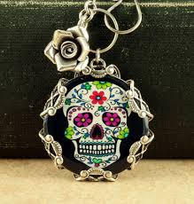 sugar skull necklace halloween necklace sugar skull jewelry