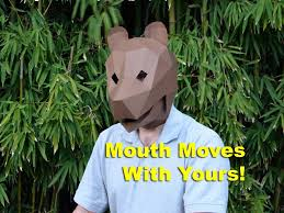 digital halloween mask make your own paper bear mask with moving jaw halloween mask