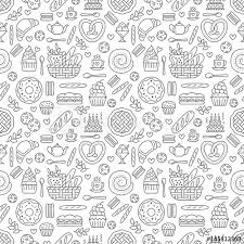 seamless pattern food bakery seamless pattern food vector background of black white color