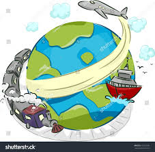 illustration globe surrounded by plane boat stock vector 126752999