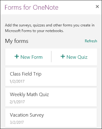 create a quiz with microsoft forms onenote
