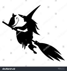 flying witch halloween funny magic silhouette witch cat flying stock vector 683429017