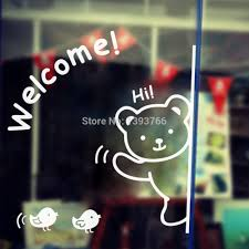Wallpaper Shop Aliexpress Com Buy Welcome Bear And Birds Window Stickers Zyva