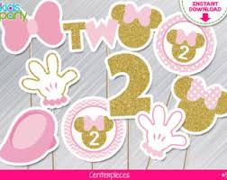instant download pink and gold minnie mouse centerpieces 3rd