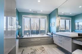 stunning blue paint colors for bathroom whith white bathtub and