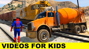 spiderman and mixer trucks for kids in cars cartoon for children
