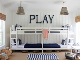 white stained wooden bunk bed with double ladder using dark blue
