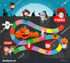 kid games for halloween board game halloweengames kids child board stock vector 488643391