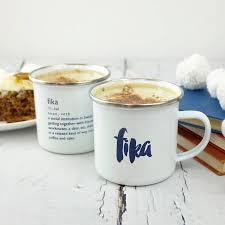 hygge inspired enamel fika mug by auntie mims notonthehighstreet com