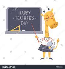 s day giraffe vector illustration lesson giraffe teachers stock vector