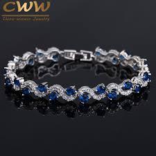 wedding bracelet gift images Cwwzircons fashion brand eu style royal blue crystal element jpg