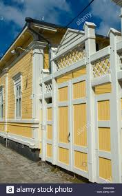 wooden designs old rauma western finland europe stock photo