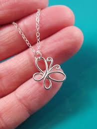 wire butterfly necklace sterling silver 14k gold gold filled