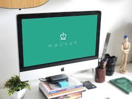 apple imac on desk mockup mockupworld
