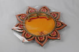 wedding gift online buy flower shaped pooja thali with two bowls for roli and chawal