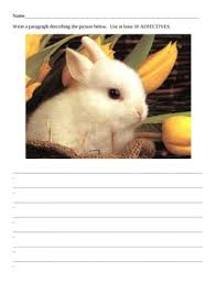 printable worksheets with pictures to write adjective paragraphs